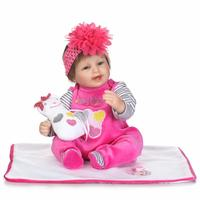 17inch 42cm Lifelike Reborn Babies Soft Silicone Dolls Newborn Baby Doll plush +bottle+pacifier doll For Child Christmas Gift