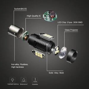 Image 4 - Farol de led para carro, 2 peças luz 1156 led ba15s p21w led bau15s py21w bay15d 1157 p21/5w r5w 21 smd lâmpadas led automáticas 12v 24v, 3030