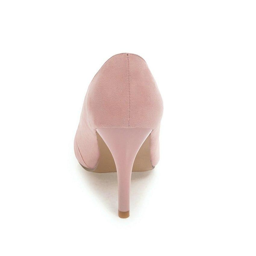 style a 2018 tacchi grigio alti donne in sottile pompe pelle punta scarpe nero 43 rosa punta mano pu slip on 34 signore taglie scamosciata Esveva western Twq7T