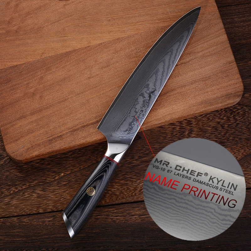 engraved kitchen knives professional 8inch damascus chefs knife customized engraved stainless steel vg10 kitchen cutlery 3143