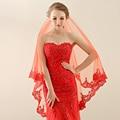 Veu de Noiva Longo 2016 One Layer Red Lace Short Wedding Veil Long Bridal Veil Wedding Accessories