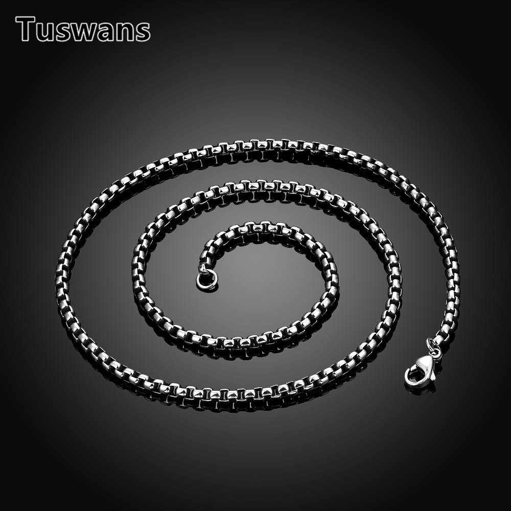 Cool 4mm High Quality 316L Stainless Steel Men Chain Necklace 60cm Length Male Jewelry Accessories Drop Ship(TSYLN001)
