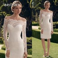 BRITNRY чудесное кружевное свадебное платье с открытыми плечами вырез Русалка с длинными рукавами короткое свадебное платье новое Настоящее