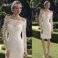 BRITNRY Wonderful Lace Off the shoulder Bridal Dress Neckline Mermaid Long Sleeves Short Wedding Dress New Real