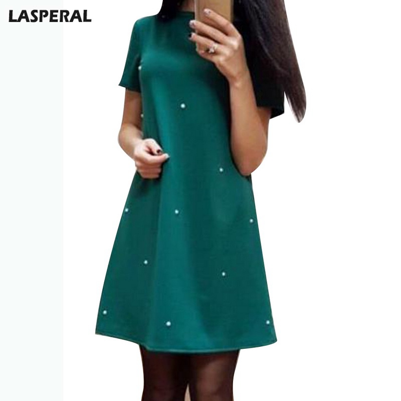 LASPERAL Fashion Women Mini Dress Elegant Solid Beading Loose Short Sleeve Party Daily Wear Plus Size Dress 2018 New Sundresses