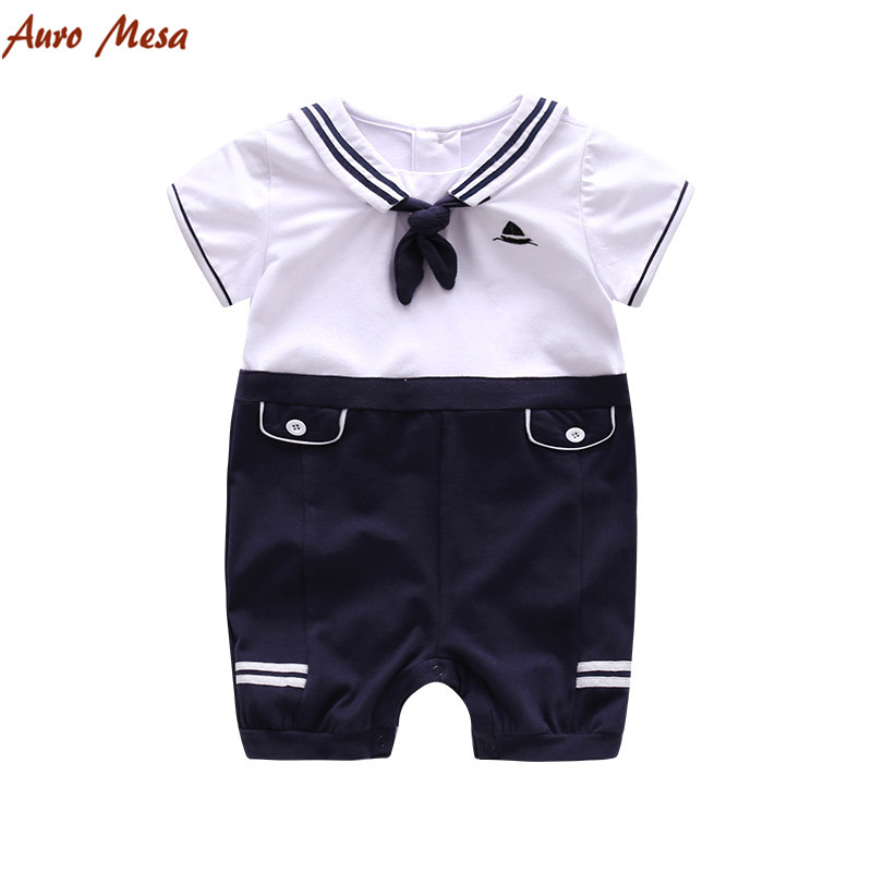 Navy Sailor Baby Romper Short Sleeve Jumpsuit 100% Cotton Infant Boys one piece clothes Newborn Baby Jumper