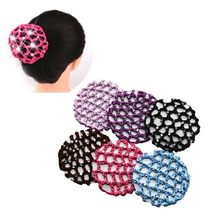 1PC Hairnets Girls Women Bun Cover Snood Hair Net Hair Cover Ballet Dance Skating Crochet Colorful Elastic Hairnet Styiling Tool(China)