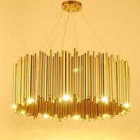 Italy Design Gold Delightfull Brubeck Chandelier Aluminum Alloy Tube Suspension Luminaire Fashion Project Lamp