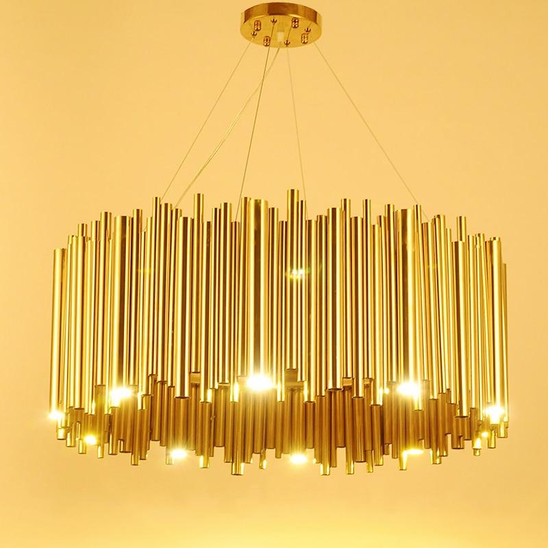 イタリアデザインゴールド Delightfull Brubeck シャンデリアアルミ合金管サスペンション照明器具ファッションプロジェクトランプ  グループ上の ライト & 照明 からの シャンデリア の中 1