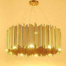 Luminária em itália com design de ouro, lustre de liga de alumínio com tubo de suspensão, estilo brubeck, lâmpada