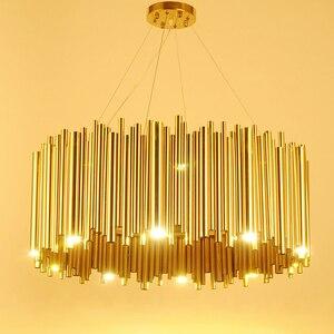 Image 1 - Włochy projekt złoty Delightfull Brubeck żyrandol aluminium rura ze stopu zawieszenia oprawy moda lampa projektorowa