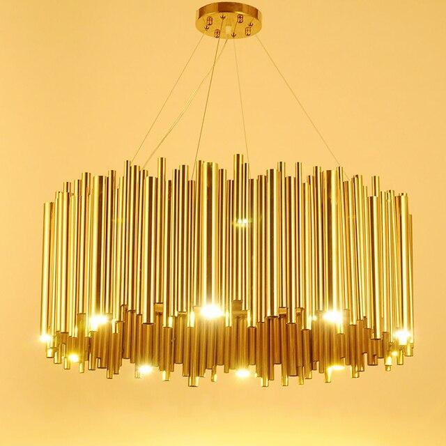 Włochy projekt złoty Delightfull Brubeck żyrandol aluminium rura ze stopu zawieszenia oprawy moda lampa projektorowa