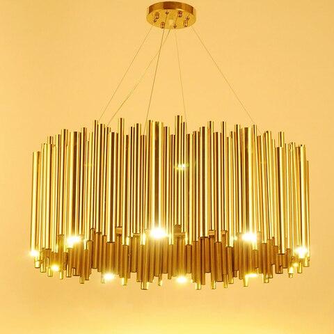 italia design ouro delightfull brubeck lustre tubo da liga de aluminio suspensao luminaria lampada projeto