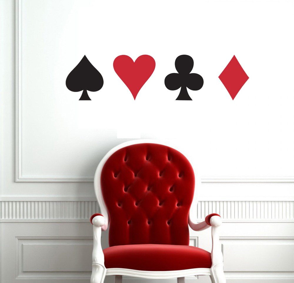 Store Poker Pro Kort Spade Club Heart Diamond Wall Sticker Suit Spille Game Room Night Basement Casino Dealers Deal Bet King