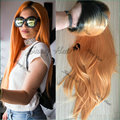 Long Orange Wig Kylie Jenner Peach Ombre Hair Wig180 Density Natural Long Straight Ombre Synthetic Heat Resistant Lace Front Wig