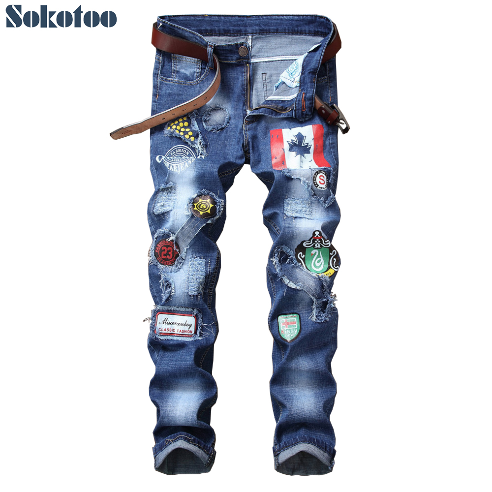Sokotoo Men's Patches Design Patchwork Blue Stretch Denim Jeans Slim Straight Badge Holes Ripped Distressed Long Pants