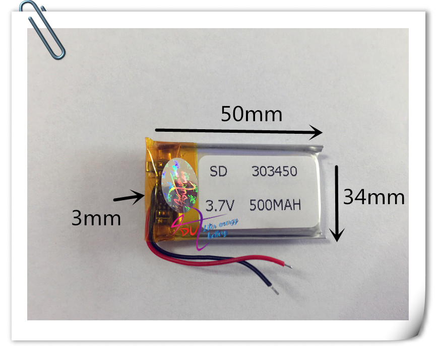 10 pcs 3.7V 500mah 303450 Lithium Polymer Li-Po Rechargeable DIY Battery For Mp3 MP4 MP5 GPS Vedio Game toys