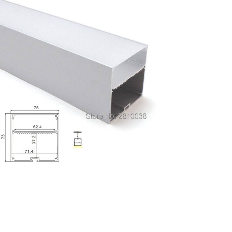 100 X1 M Sets/Lot 6000 series led aluminum profile channel and 75x75 U led profile light for suspension lamps 5 30 pcs lot 1m aluminum profile for led strip milky transparent cover for 12mm pcb with fittings embedded led bar light