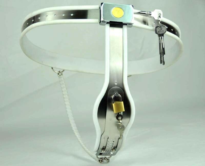 Femme modèle-T courbe taille réglable en acier inoxydable femelle ceinture de chasteté force dispositif de chasteté BDSM jouets sexuels