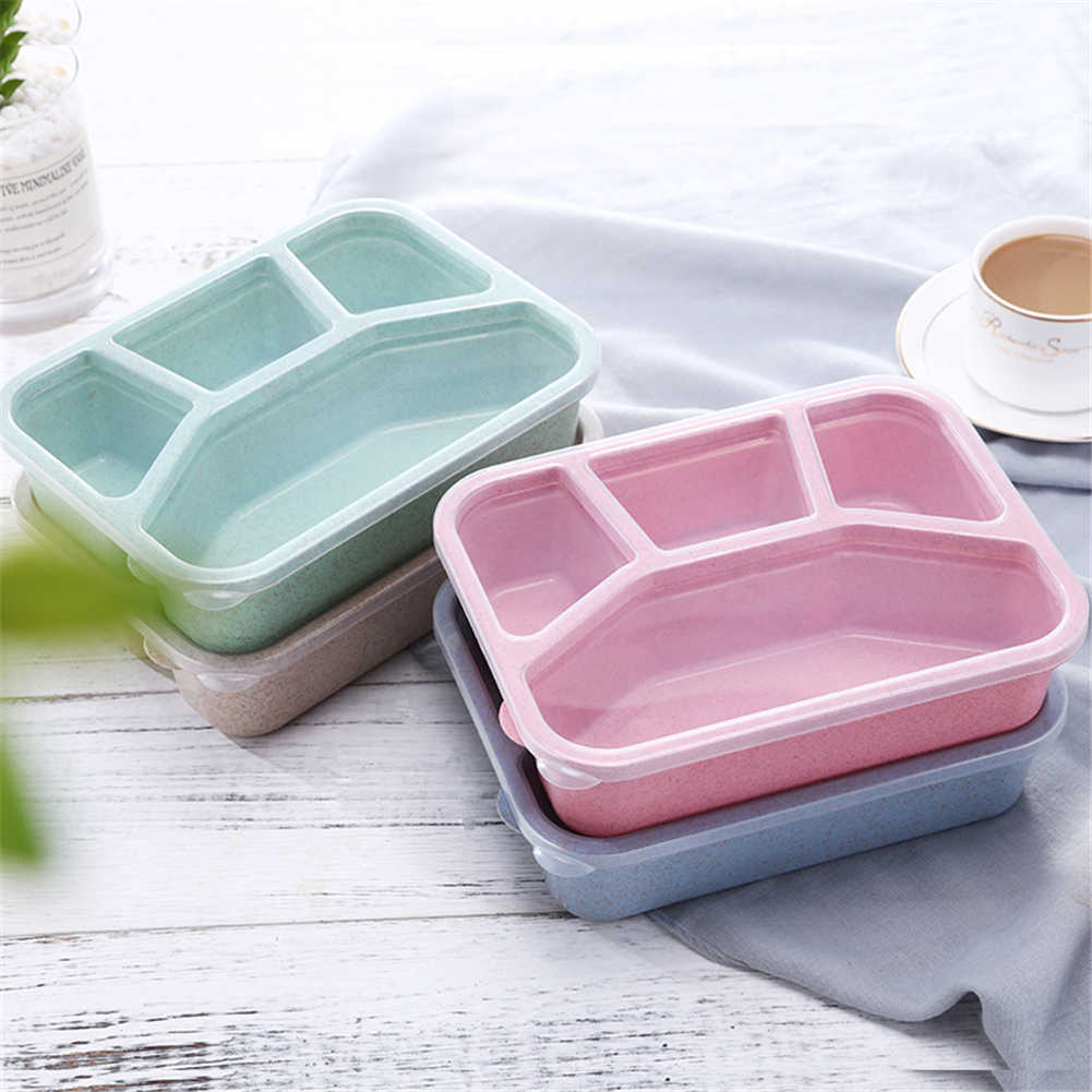 Bento Lunch Box Adults Kids 4 Compartments Travel Food Storage Containers