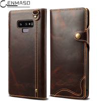 For Samsung Note 9 Case Genuine Leather Wallet Stand Protect Flip Case for Samsung Galaxy S8 S9 Plus Note 8 9 Note9 Case Cover
