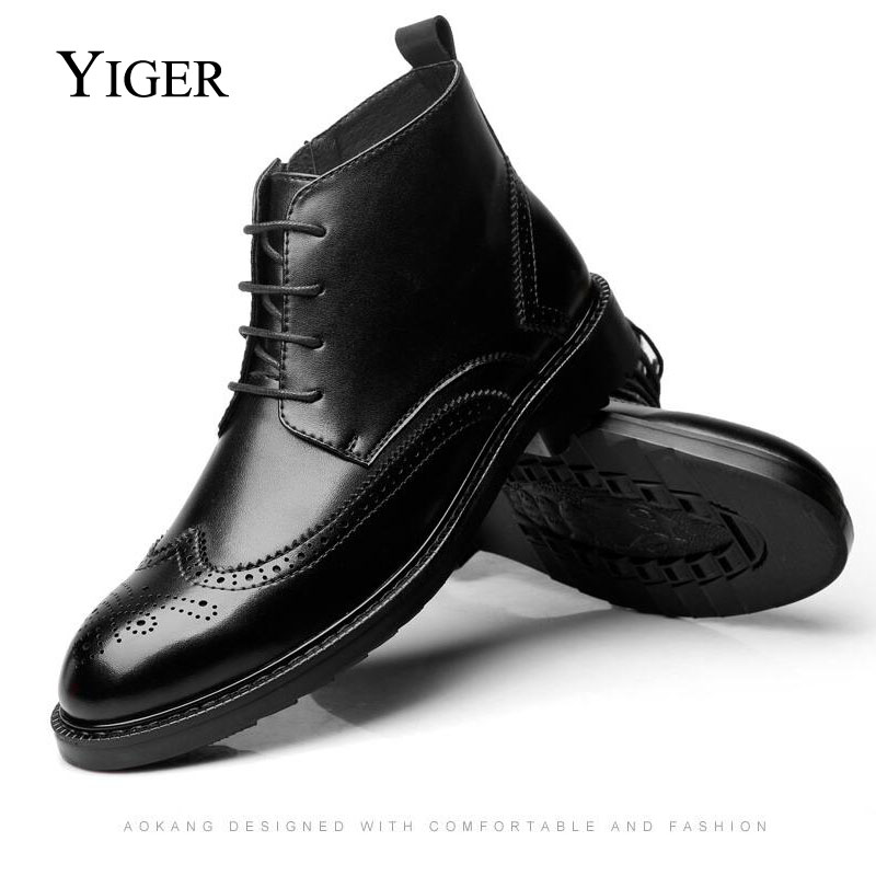 YIGER NEW Men Boots Genuine Leather Large Size Casual Lace-Up Bullock  Black Spring/Autumn Shoes 0007