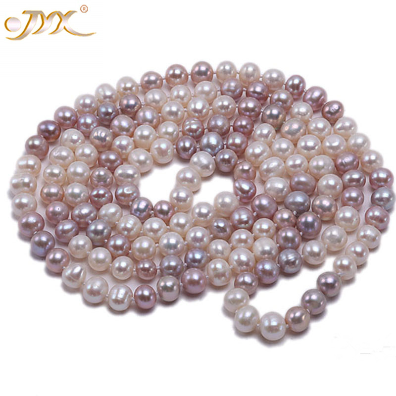 JYX Pearl Long Necklace Women Classical Natural 8-9mm Multi-Color Baroque Freshwater Pearl Sweater Necklace 47
