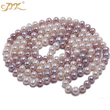 JYX Pearl Long Necklace women Classical natural 8-9mm Multi-Color Baroque Freshwater Sweater 47 328sale
