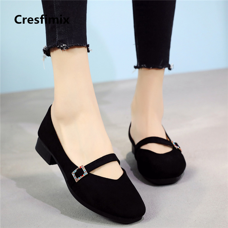 Cresfimix women high quality flock black summer shoes lady cute comfortable dance shoes female retro street stylish shoes <font><b>a2018</b></font> image