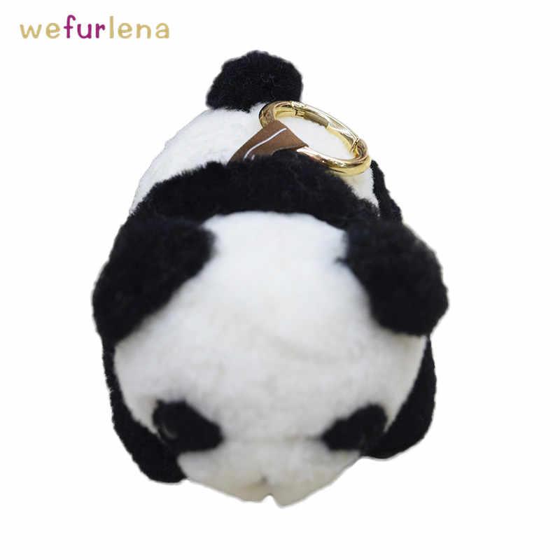 Panda bonito Chaveiros De Pele Genuína Decoração De Charme Saco Fofo do Anel Chave Da Corrente Chave Das Mulheres Reais Da Pele Bolsa Pingente de Animais jóias