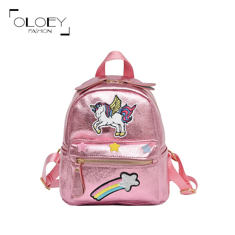 Oloey 2019 Pu Leather Unicorn Backpack For Girls Mini Travel Bag School Bags For Teenager Girls Women Casual Bagpack MochilaOloey 2019 Pu Leather Unicorn Backpack For Girls Mini Travel Bag School Bags For Teenager Girls Women Casual Bagpack Mochila