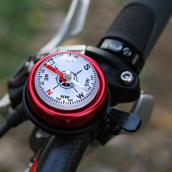 Dzwonki rowerowe dzwonki na rower ze stopu aluminium z kompasem wyczyść pierścień dźwiękowy do roweru szosowego i górskiego ed-shipping tanie i dobre opinie CAR-partment Kompas dzwon others Alloy 7252 x 65 mm