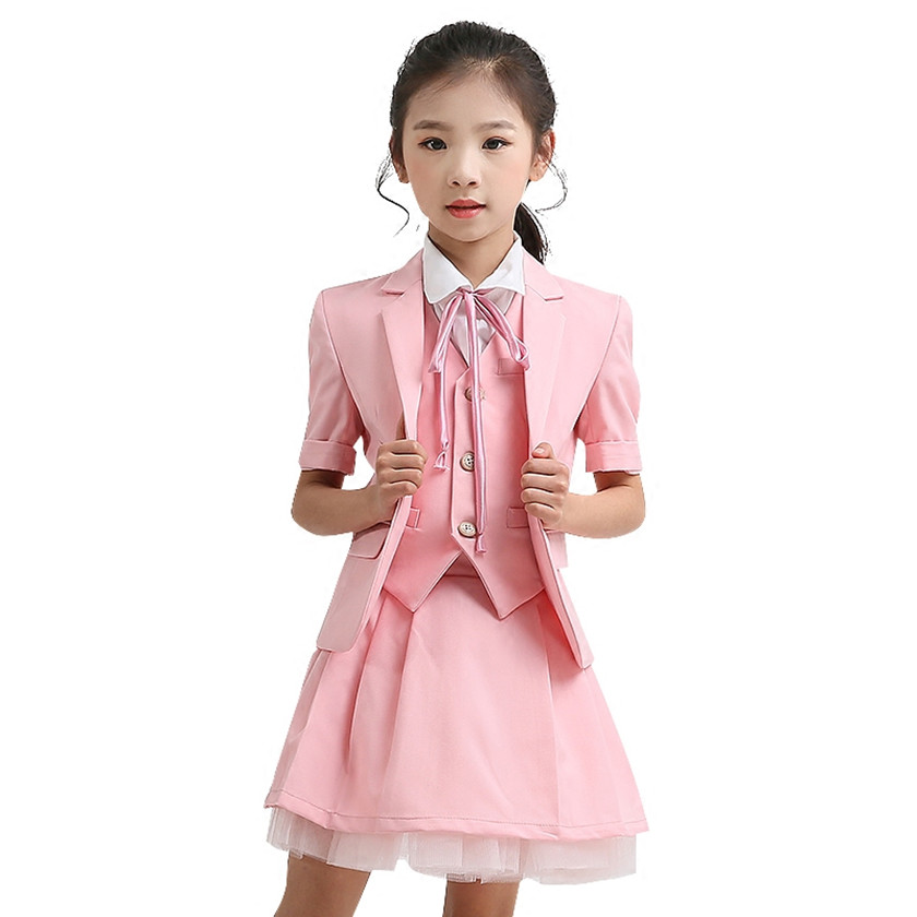 2018 Newest Girls Blazer Wedding Suits Brand Kids 5PCS Formal Suits Party Tuxedos Costume Single Button Suits Pink White S84018A