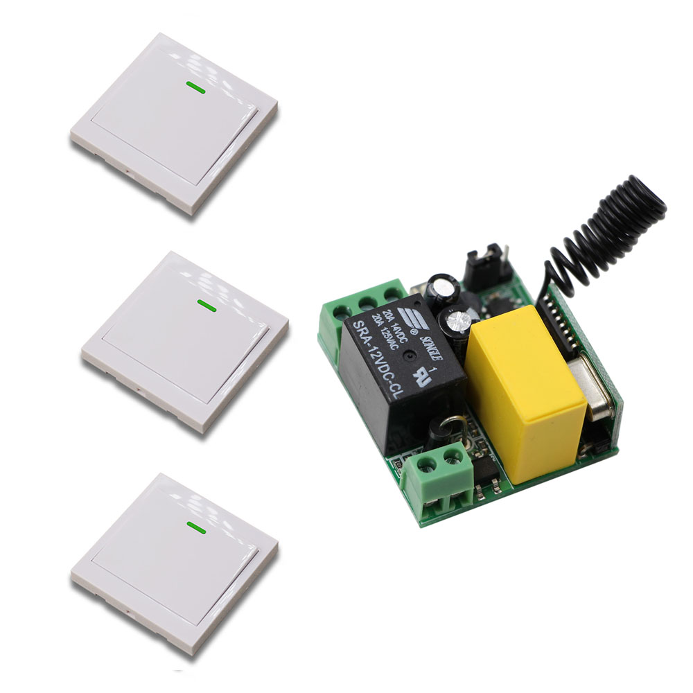Promotion Price RF Wireless 220V 10A 1CH Remote Control Switch 1 Receiver& 3 Transmitters 315/433 MHZ White Wall Switch 2pcs receiver transmitters with 2 dual button remote control wireless remote control switch led light lamp remote on off system