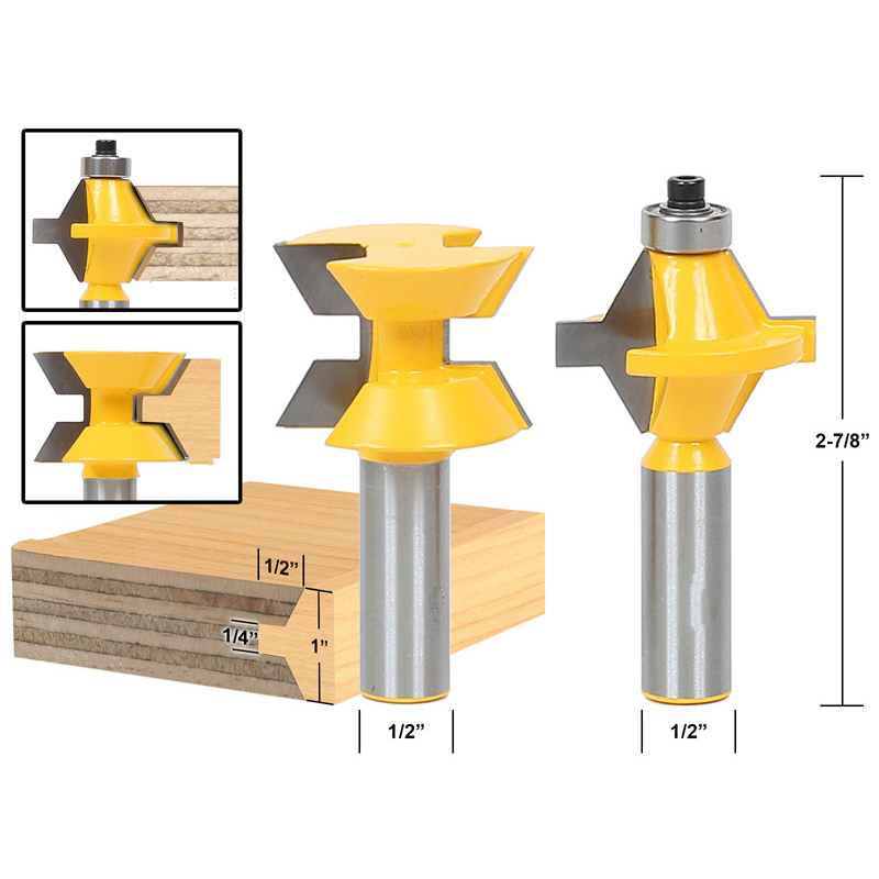 2pcs/lot Matched Tongue and Groove Router Bit Set- Edge Banding 1/2 shank 2 pcs 1 2 shank matched tongue and groove 120 degree router bit woodworking edge banding