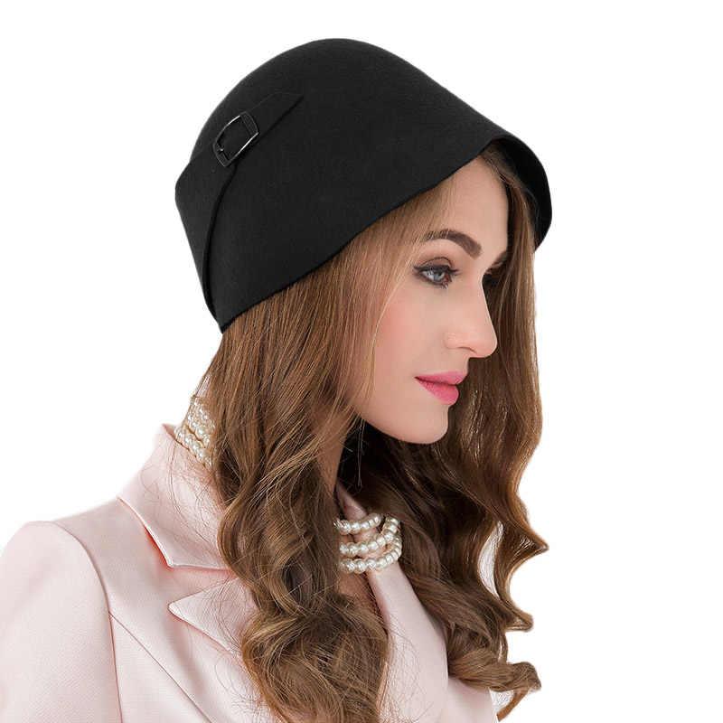 5e14d08fd Vintage Black Orange 100% Wool Cloche Hats Women Wide Brim Felt Fedora  Bowler Church Hat Winter Sloppy Ladies Chapeau Femme 5183