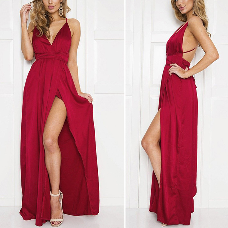 Dresseses Women 2018 new fashion maxi Deep V neck Backless Solid Color summer dress Strap nohemian Long Dress Vestidos HJY7604