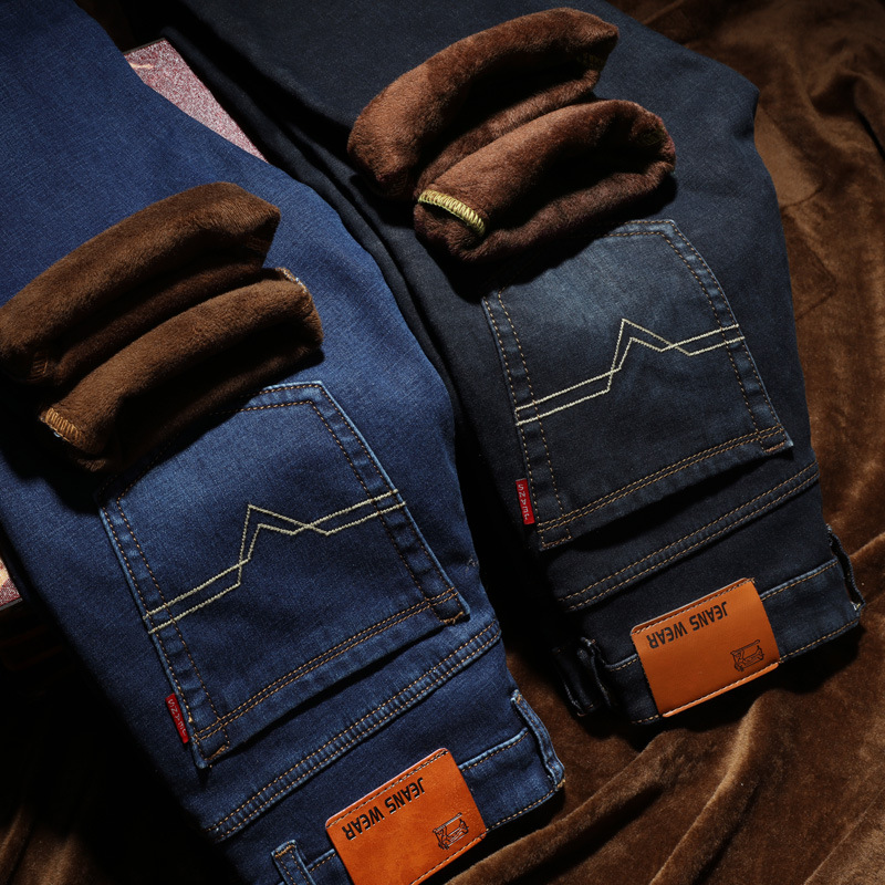 Winter Fashion jeans mens Classic business casual Jeans Warm Thick Baggy Pants Cotton For Men Male Elastic Stretch Jean trousers