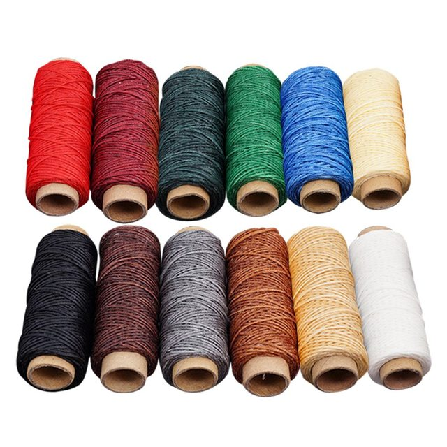 US $7 13 30% OFF| 6/12 pcs Mutiple Colours Leather Sewing Waxed Thread DIY  Handmade Wear Proof Leather Sewing Flat Wax Thread Sewing Threads-in Sewing