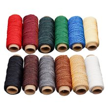 6/12 pcs Mutiple Colours Leather Sewing Waxed Thread DIY Handmade Wear-Proof Leather Sewing Flat Wax Thread Sewing Threads