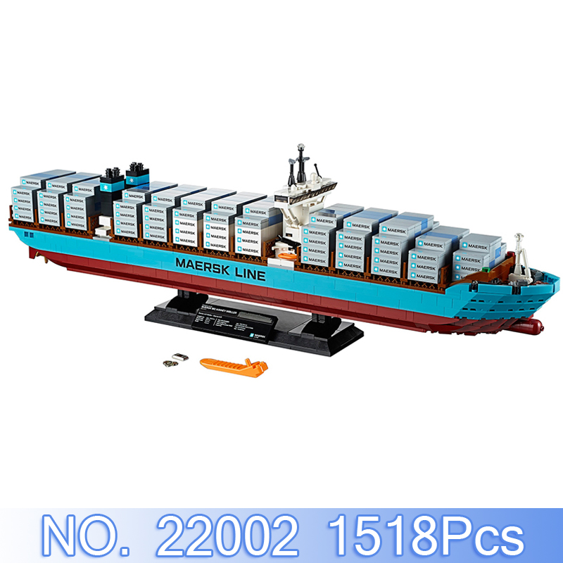 Lepin 22002 Technic Figures 1518Pcs Maersk Cargo Container Ship Model Building Kits Blocks Bricks Sets Compatible 10241 Toy Gift lepin sets 22002 1518pcs technic series maersk cargo container ship model building kits blocks bricks educational toy gift 10241