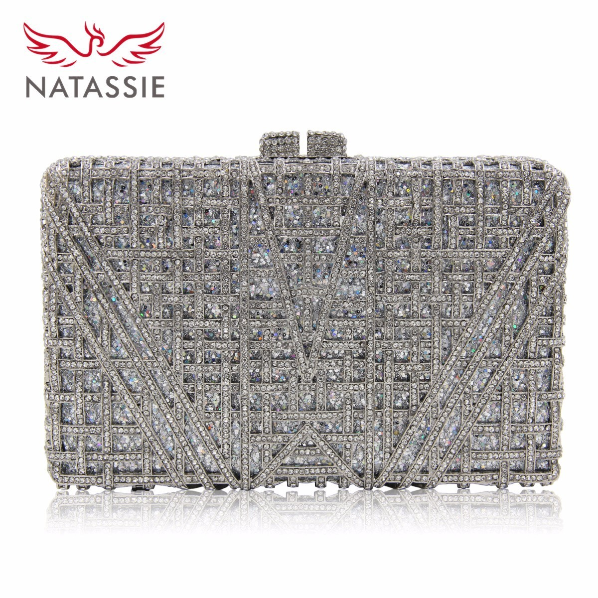 NATASSIE New Arrival Luxury Crystal Clutches Ladies Wedding Purses With Diamonds Women Evening Bag Party Purse luxury real new arrival day clutches diamonds flower women bag banquet crystal handbag wedding party handbags night clubs purse