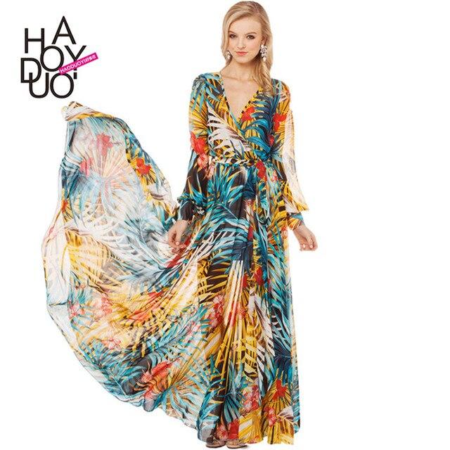 d4d2d5bf5b31 Fashion Print Long Sleeve Maxi Dress Tropical Rainforest Floral  Floor-Length Chiffon Beach Dress Plus Size Women Clothing