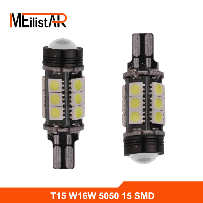 2pcs Xenon White Canbus Error Free Emitte LED T15 921 912 W16W LED Backup Reverse Lights lamps Parking 360 5050SMD Car Led 2 x error free super bright white led bulbs for backup reverse light 921 912 t15 w16w for peugeot 408