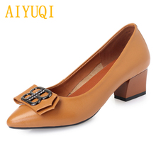 Купить с кэшбэком AIYUQI Genuine leather women's shoes 2019 spring new large size 41 42 43 fashion work shoes women, banquet dress shoes women