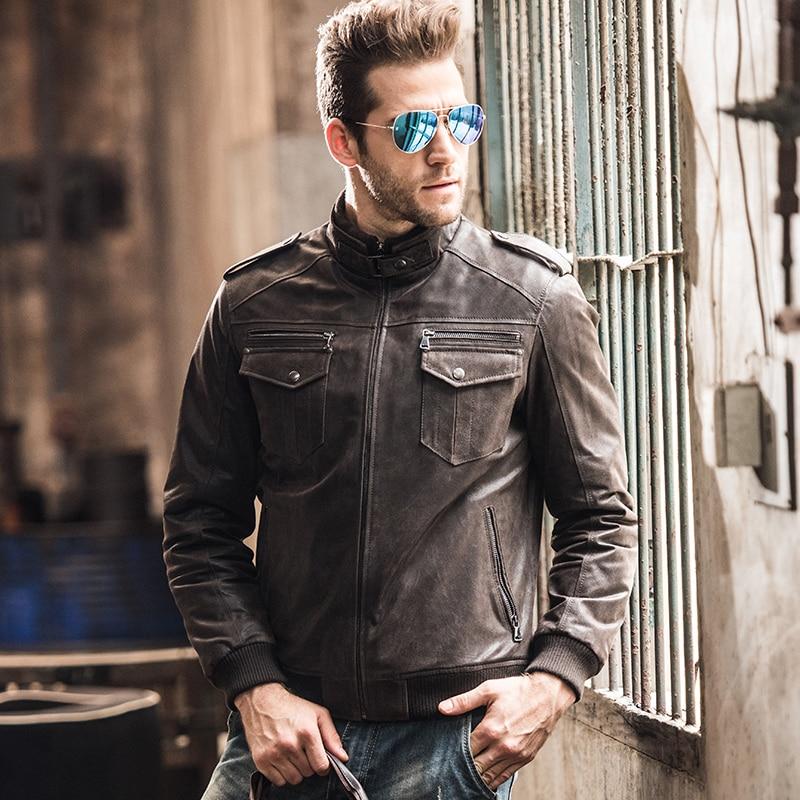 Men's pigskin motorcycle real leather jacket padding cotton winter warm coat male Genuine Leather jacket