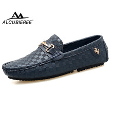 ALCUBIEREE Embossed Leather Moccasins for Men High Quality Slip On Flats Loafers Fashion Buckle Style Driving Shoes