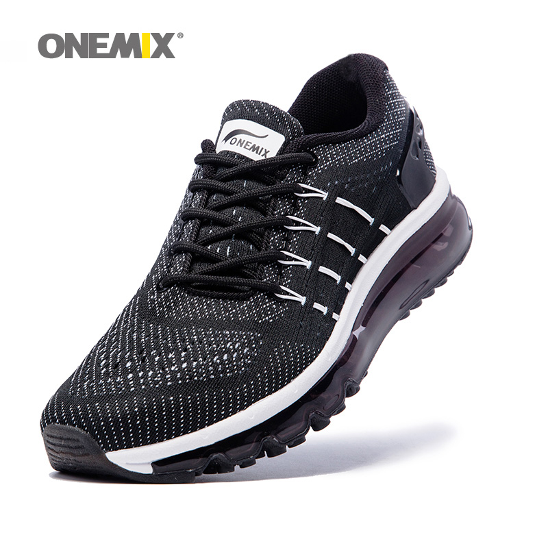 ONEMIX Air Для женщин кроссовки для Для мужчин сетки уникальная Обувь язык спортивные кроссовки черные дышащие спортивной обуви подушке кроссо...