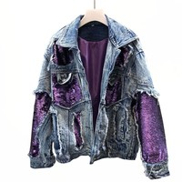 Spring Autumn Hip hop Purple Heavy Sequins Denim Jacket women Loose Cowboy Coat Female Hole Jeans Coat Chaqueta Mujer Casaco N35