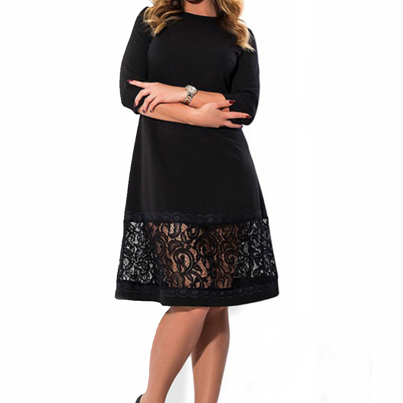 Plus Size L-6XL Knee-Length Dress Women Elegant Lace Party 2018 Spring Summer Femme Big Sizes O-neck Loose Dresses GV496